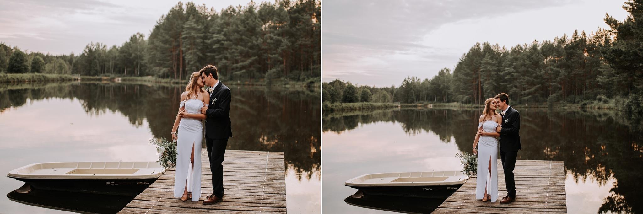 plener ślubny para młoda jezioro molo łódka kielce fotograf ślubny kielce magia iwona tomek